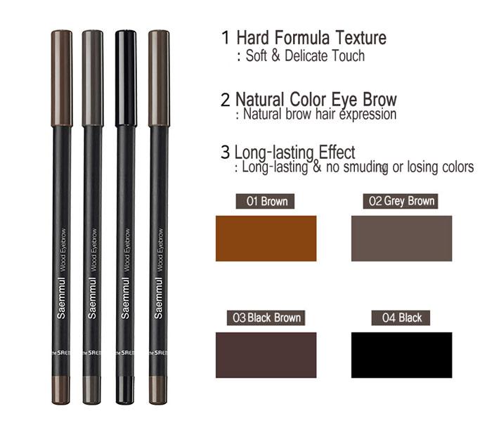 Картинки по запросу СМ EYE Карандаш для бровей 01 Saemmul wood eyebrow 01.brown