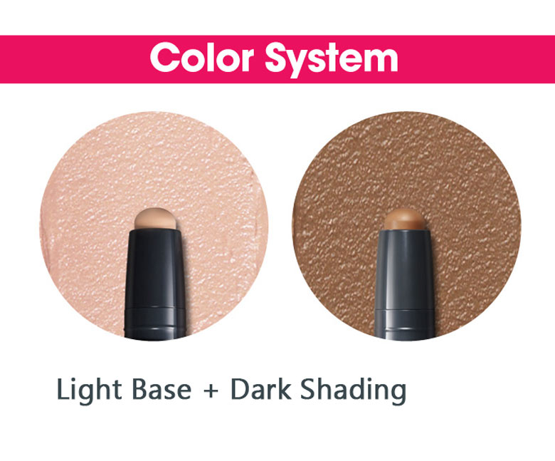 Highlighter + Shading duo stick. Natural blending with creamy texture. 3D small face with contour.