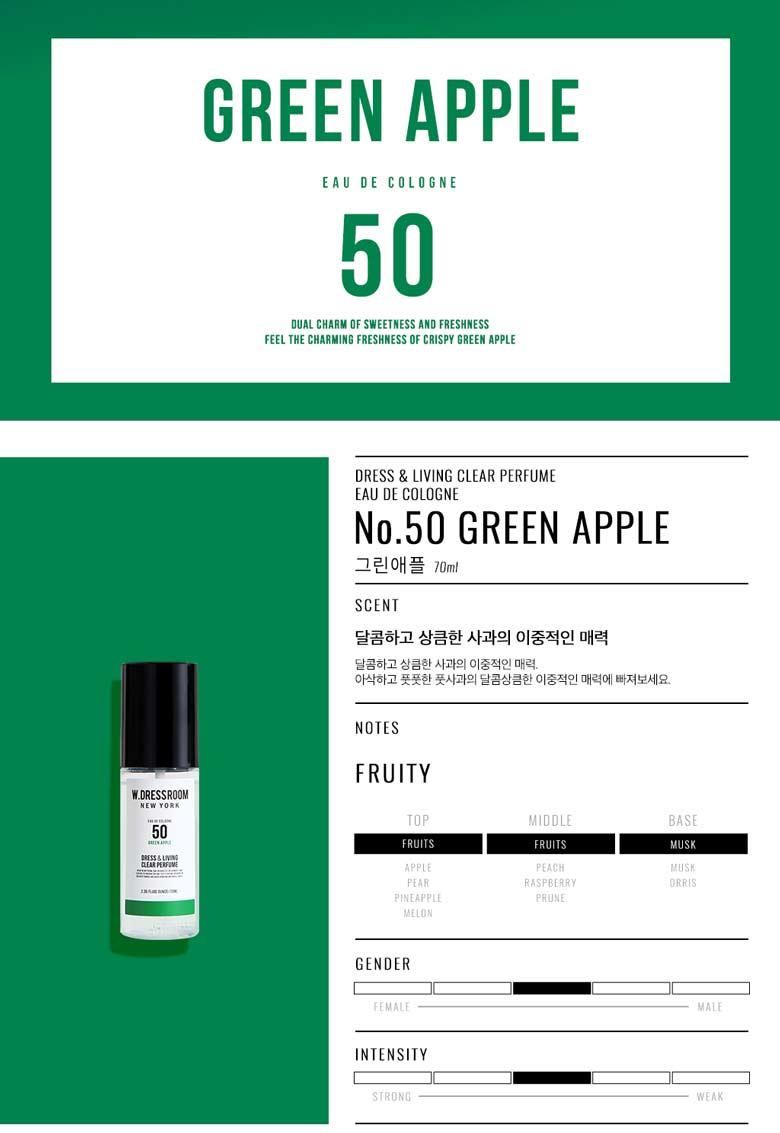 W. Dressroom No.50 Green Apple  Top:Apple,Pear,Pineapple,Melon, Middle: Peach,Rasberry,Prune, Base: Musk,Orris,
